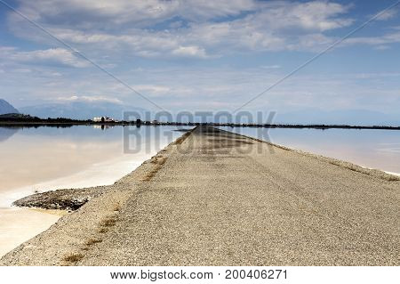 View of the salt lake on a sunny day (lagoon Missolonghi, Greece)