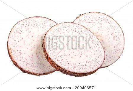 Slice Of Taro Isolated On The White Background