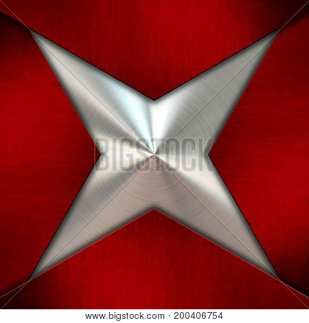 Abstract background with red metal on brushed metallic texture