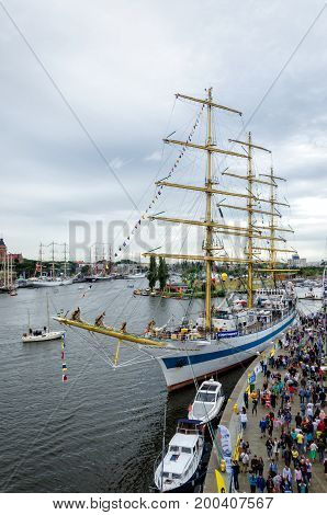 SZCZECIN, WEST POMERANIAN / POLAND - 2017: Final Tall Ships Races.Great sailing ship berthed at the wharfs Lasztownia