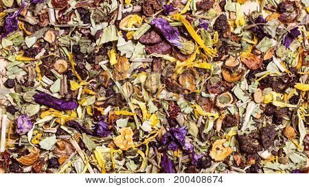 Food background texture of assorted natural medical dried herb leaves and flower petals