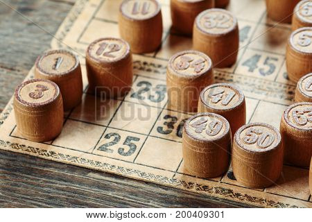 Vintage lotto board game kegs and cards