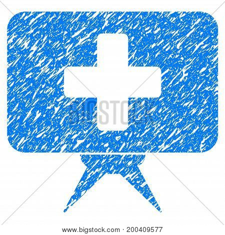 Grunge Health Care Presentation icon with grunge design and dirty texture. Unclean vector blue pictogram for rubber seal stamp imitations and watermarks. Draft sign symbol.