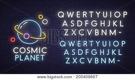 Cosmic neon sign, bright signboard, light banner. Spase logo, emblem. Neon sign creator. Neon text edit
