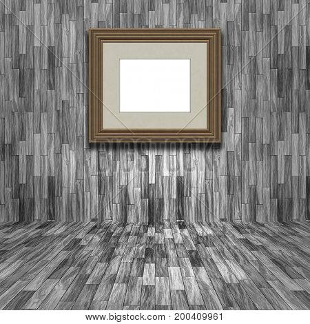 3D render of a blank picture frame in a wooden room