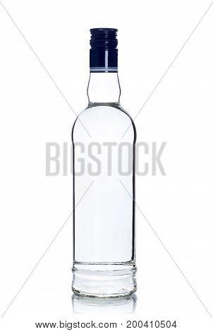full sealed bottle of vodka on white background