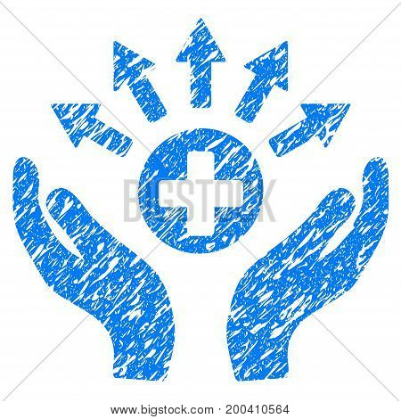 Grunge Medical Distribution Care Hands icon with grunge design and dust texture. Unclean vector blue pictogram for rubber seal stamp imitations and watermarks. Draft emblem symbol.