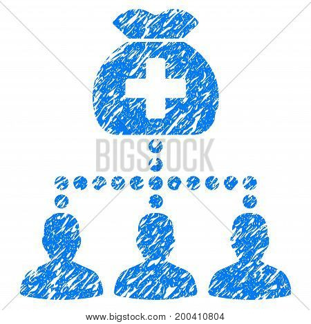 Grunge Medical Fund Clients icon with grunge design and scratched texture. Unclean vector blue pictogram for rubber seal stamp imitations and watermarks. Draft emblem symbol.