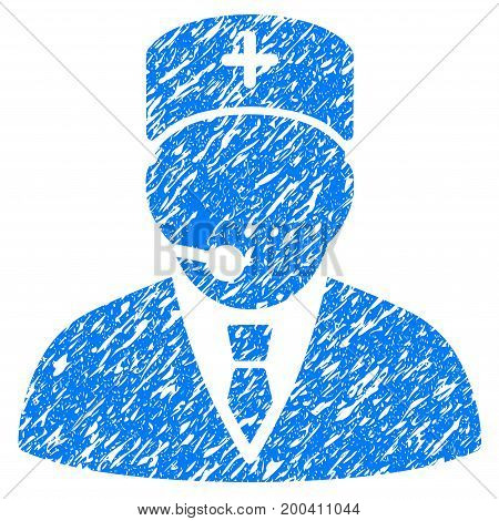 Grunge Medical Manager icon with grunge design and unclean texture. Unclean vector blue pictogram for rubber seal stamp imitations and watermarks. Draft sticker symbol.