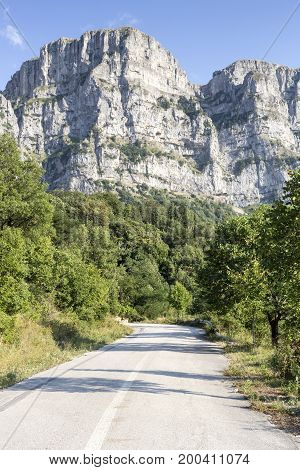 The road in the mountains in the countryside (Epirus region, Greece)