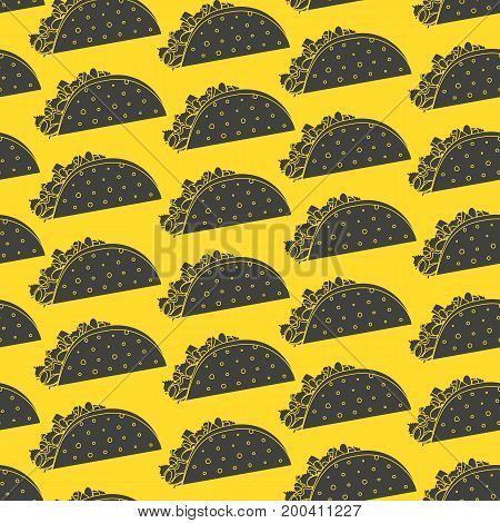 Mexican fast food seamless pattern with black negative space tacos on yellow background. Nice spanish fastfood taco texture for textile wallpaper background cover banner bar and cafe menu design