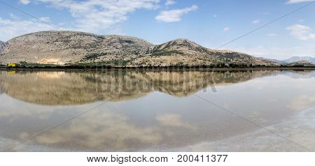 View of the salt lake on a sunny day (Missolonghi lagoon, Greece)