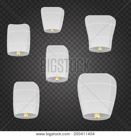 Floating lantern set. White chinese balloons on transparent background. Traditional asian lamps. Isolated floating lantern. For festival invitation, birthday, party celebration.
