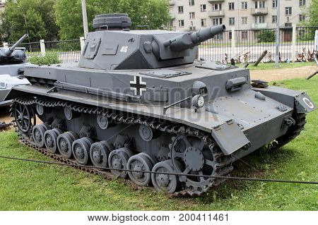 Moscow Russia - July 19 2017: Medium panzer PZ.IV (Т-4) (Germany) on grounds of weaponry exhibition in Victory Park at Poklonnaya Hill.