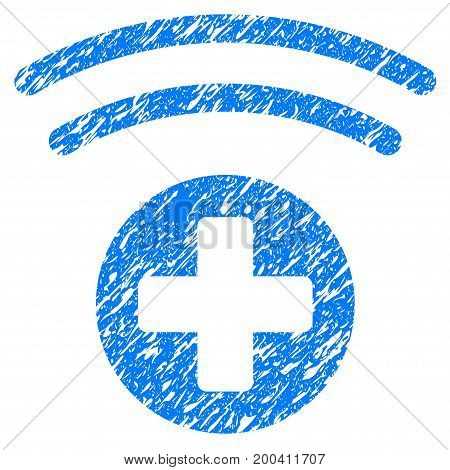 Grunge Medical Source icon with grunge design and scratched texture. Unclean vector blue pictogram for rubber seal stamp imitations and watermarks. Draft sign symbol.