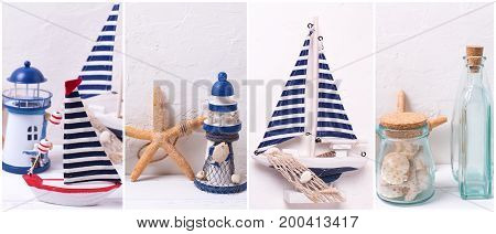 Collage from photos with ocean or coastal living decorations. Decorative wooden boats star fishes bottles with ocean treasure on light backgound. Site header.