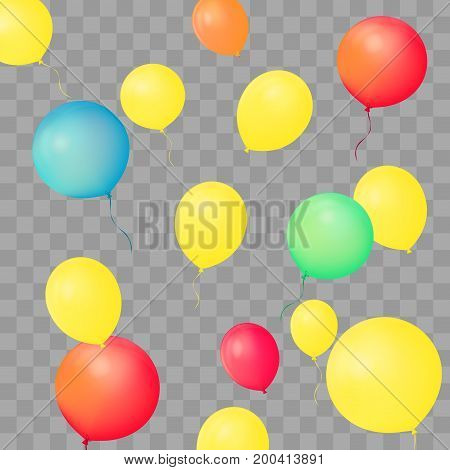 Set of party balloons on transparent background. Different colored realistic balloons vector illustration