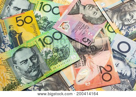 Colorful Of Australian Dollars Background.