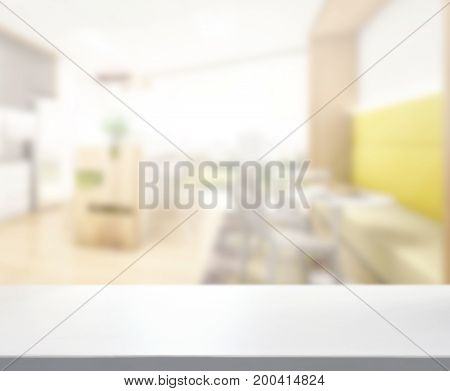 Table Top And Blur Dining Room Of Background