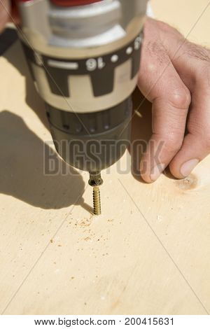 Worker's hands screw in the screw using a screwdriver.