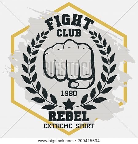 Fight club sign, Fist with laurel wreath, hand silhouette, boxing emblem in vintage style. MMA Sport fighter emblem. Vector
