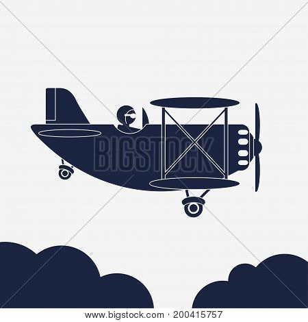 Airlane illustration, airplane icon, Aircraft in the sky, Jet above the clouds, Retro Plane silhouette, Civil aviation vehicle. vector