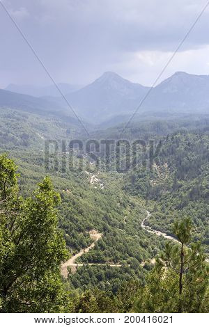 View of the Vikos gorge from a height (Epirus region, Greece)