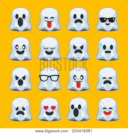 emoji ,halloween , ghost, set of emotion, vector