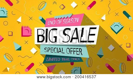 Fashion. Big Sale Memphis style Banner or Poster. Summer sale and Clearance Card. Discounts Background. Holiday sale. Design Template for Sticker, Label  in Fashion. Special offer. Limited time only.