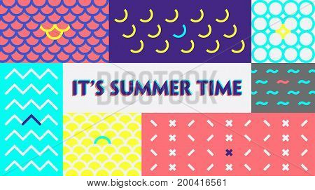 Fashion. Summer time colorful  Banner or Poster. Geometric texture Background. Design Template for Sticker, Label  in Fashion.