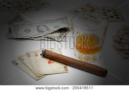 Money Poker Whiskey on a white background