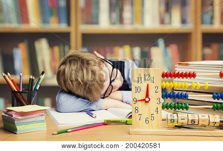 Student Child Sleeping in School Tired Kid Asleep on table children hard difficult education