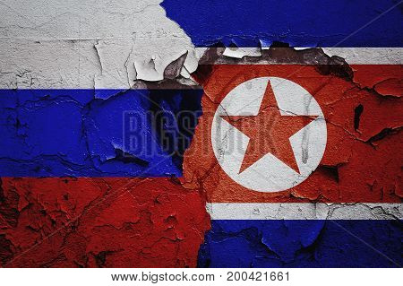 Russia and North Korea relations between countries, the abstract background of the relationship.