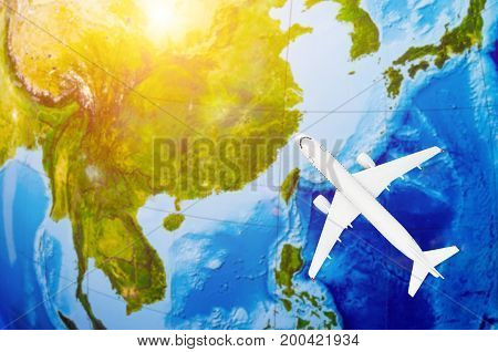 Flight To Asia Symbolic Image Of Travel By Plane Map