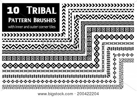 Ethnic vector pattern brushes with inner and outer corner tiles. Perfect for creating design elements, tribal geometric ornament, frames, borders and more. All used brushes included in brush palette.