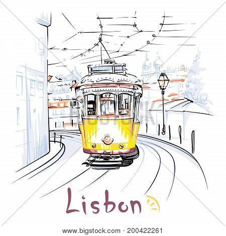 Vector Scenic city view of Famous vintage yellow 28 tram on street of Alfama, the oldest district of the Old Town, Lisbon, Portugal.