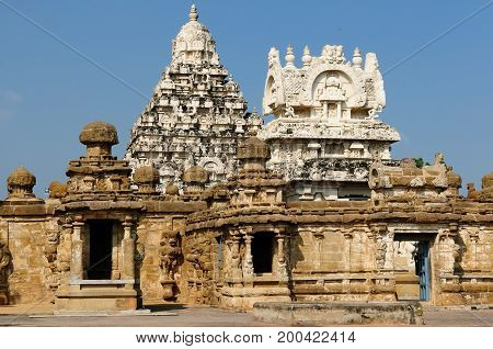 Kailasanathar Temple in Kanchipuram. Bouilt in the 8 th century. Tamil Nadu India