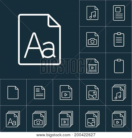 Thin Line Grammar, Letter File Icon, File Icons Set