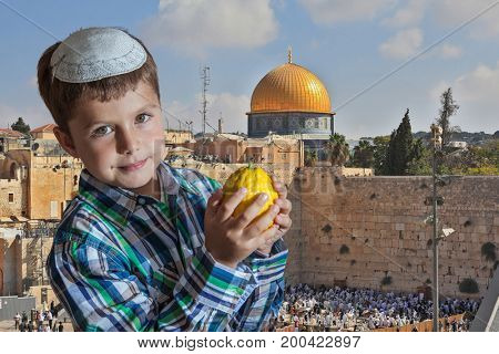Morning autumn Sukkot.  Cute seven year old boy in white skullcap with the etrog. Sukkot at the Western Wall of Temple in Jerusalem