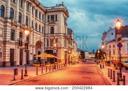Vilnius, Lithuania: Didzioji street in the old town at sunrise