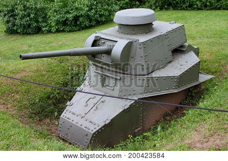Moscow Russia - July 19 2017: Dug in the form of a pillbox light tank T-18 with a 45-mm cannon on grounds of weaponry exhibition in Victory Park at Poklonnaya Hill.