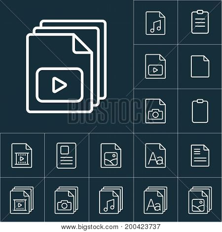 Thin Line Video File, Play Icon, Different Type File Icons Set