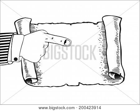 Human hand indicates to an empty parchment, scroll. Pointing finger. Blank sheet white paper with space for your text. Isolated on white background. Vector illustration in flat design. Horizontal.