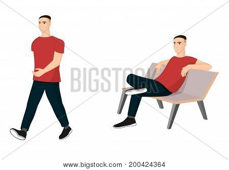 Set of male characters in casual poses