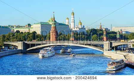 Moscow Russia - August 27 2016 : Scenery of Moscow Kremlin and Moscow river from pedestrian bridge at Cathedral of Christ the Saviour