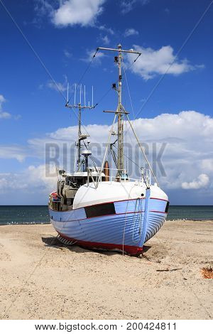 Fishing boats drawn up on the beach