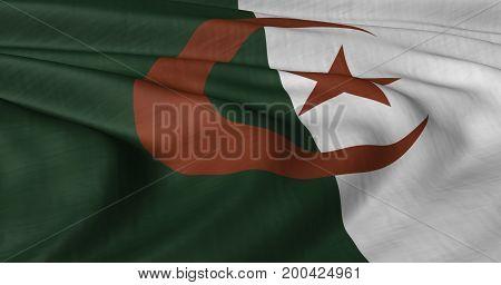 3D illustration of Algerian flag fluttering in light breeze