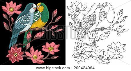 Embroidery design. Collection of fancywork elements for patches and stickers. Coloring book page with budgie parrots and cherry blossoming tree branch.