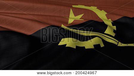 3D illustration of Angolan flag fluttering in light breeze