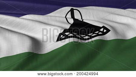 3D illustration of flag Lesotho fluttering in light breeze